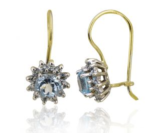 Yellow Gold Diamond and Blue Topaz Drop Earrings