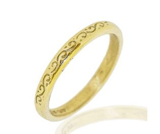 Classic Thin Cylinder Wedding Band Vintage Carvings 14k Gold