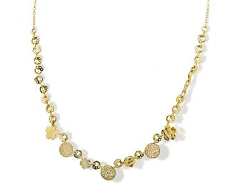 Handcrafted Solid Yellow  gold Romantic Charm Necklace.