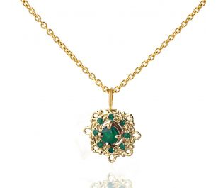 Victorian Rose Gold Necklace with Emeralds