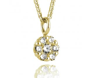 Solid  Yellow Gold Flower Cluster Diamond Pendant Grand