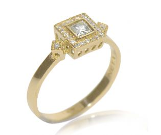 Art Deco Inspired Engagement Ring in Yellow Gold