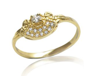 Exotic Art Deco Style Diamond Ring in Yellow Gold