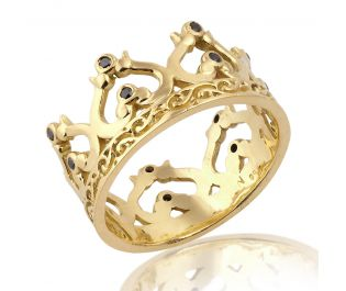 Solid Gold Crown Ring 14k