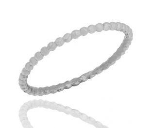 Hand-Crafted Thin White Gold Beaded Band