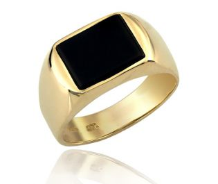 Onyx and yellow gold signet ring
