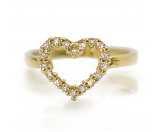 Diamonds And Heart Ring in Yellow Gold