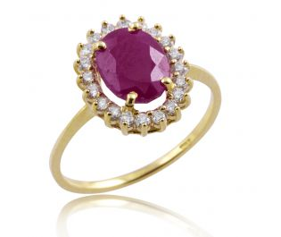 Victorian Style Floating Halo Ruby and Diamond Ring