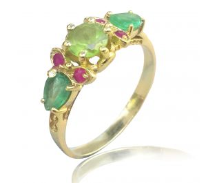 Art Nouveau Cocktail Ring in Yellow Gold